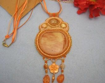 Beaded Handmade Orange Necklace with light Jasper flat cabochon