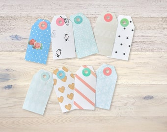 """9 Gift Tags """"Retro"""" with Reinforcement Rings handmade"""