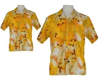 Vintage Shirt, Mens Shirt, 1970s Shirt, 70s Shirt, Yellow Hawaiian Shirt, Men's Hawaiian Shirt, Tiki Shirt, Tropical Shirt, Size Medium
