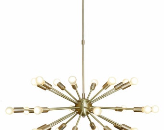 Brass Sputnik Chandelier: Mid Century Modern Brushed Brass Sputnik Chandelier Light Fitting 24 Arms  Bulbs 32inch diam,Lighting