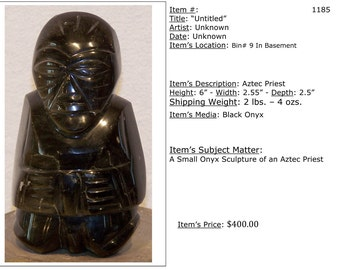 Aztec Priest Onyx Sculpture