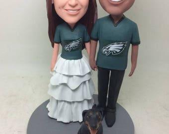 Philadelphia Eagles Wedding Eagles Groom Bride Personalized Wedding Cake Toppers Custom Bobble Head Eagles Wedding Topper Eagles Cake Topper