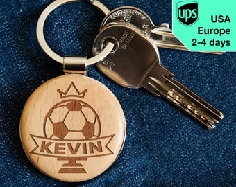 Football - key chain, personalized laser engraved wooden key chain