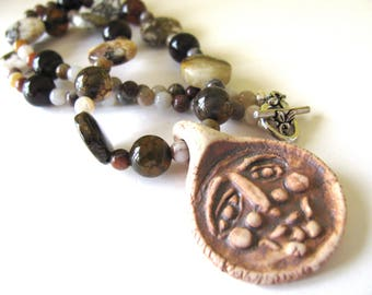 Necklace, Ceramic pendant, Brioche Jasper, Agate beads, 16 inches B-1604