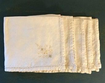 Set of Five Antique Embroidered Linen Napkins