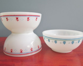 Vintage Termocrisa Cereal Or Chili Bowls Set Of Three Termocrisa Milk Glass Bowls