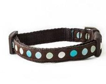 Turquoise Polka Dot Dog Collar