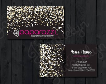 Paparazzi Accessories - Independent Consultant - Double Sided Business Cards - Gold/Pink/Sparkles - PRINTED