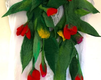 Scarf Felted Wool Flowers