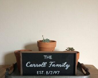 Custom Framed Reclaimed Wood Family Name Sign