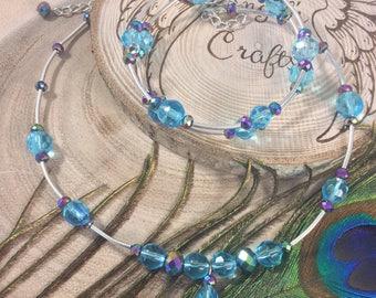 Crystal choker, Choker necklace, Crystal necklace, Aurora Borealis, Bangle, Bangle bracelet, Aurora jewellery, AB jewellery, Silver, OOAK