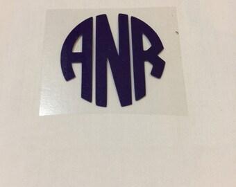 Circle Monogram Heat Transfer Vinyl Decal  Iron On Monogram Iron On Decal Vinyl Monogram