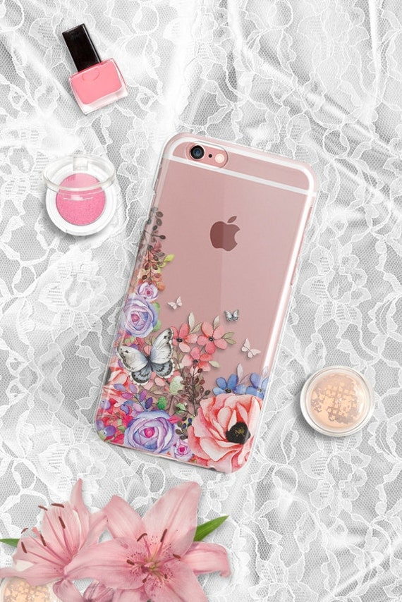 Samsung Galaxy S6 Edge case Clear Rubber Floral Samsung Galaxy S6 case Floral iPhone 7 case TPU Silicone Flexible Samsung Note 5 case