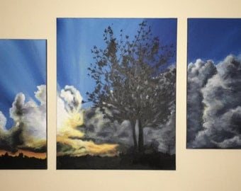 Multi canvas couch painting, tree painting, cloud painting, sunset painting, original acrylic art