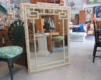 Vintage Faux Bamboo Greek Key Mirror Palm Beach Regency