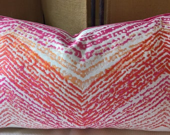 Kravet Couture 'Freshly Painted' Pinks Oranges White Modern Flamestitch Pillow Hot Crush