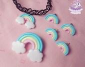 Rainbow road earrings choker brooch pastel fairy kei