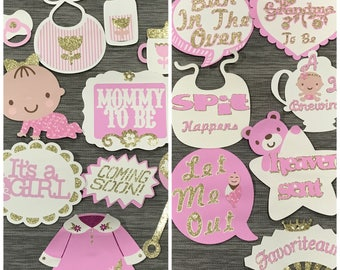 Photobooth props, pink baby shower, Girl baby shower, Baby brewing, pink photo props, tea party props, girl baby shower, props