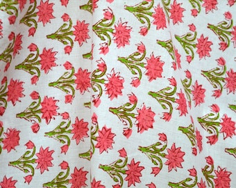 Hand Printed Fabric - Block Print Cotton Fabric, Cotton fabric by the yard - Indian Cotton Fabric in Red, Green, Yellow, Summer dress Fabric