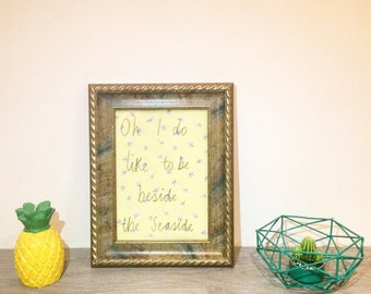 Oh I do like to be beside the seaside illustrated quote framed embroidery