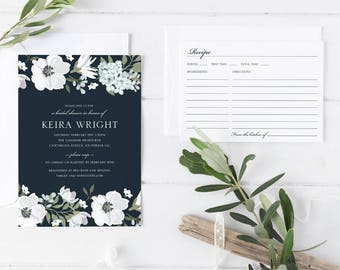 Printable Bridal Shower Invitation Set, White Flower Bridal Shower Invitation, Dark Blue White Bridal Shower with Matching Recipe Card