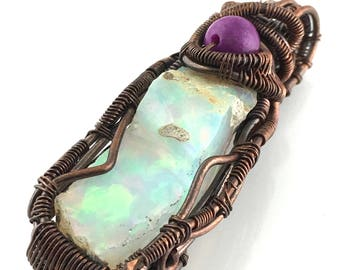 White Precious Opal gemstone pendant with Sugilite, wire wrapped in copper. Amplifying The Love & Truth In One's Heart