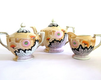 Vintage Lusterware Teapot Creamer Sugar Bowl Japan