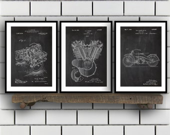 Harley Davidson Patent Posters Group of 3, Harley Davidson Prints, Vintage Motorcycle, Motorcycle Parts, Motorcycle Harley Patent, SP289