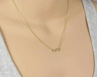 9ct Gold Infinity Necklace, Yellow Gold Infinity Jewelry, Gold Infinity Necklace, Solid Gold Necklace, Infinity Gold Necklace