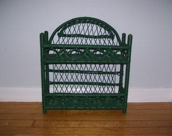 Wicker Shelf Green Wicker Shelf Rattan Shelf Stands or Hangs Vintage