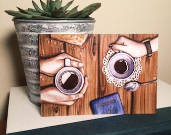 Black Coffee Conversations Watercolor Painting Postcard