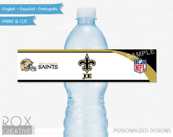 New Orleans Saints Party Water Labels, Printable Labels, Digital – Customized