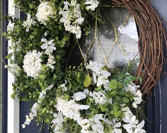 X-Large grapevine spring and summer front door wreath, greenery and wisteria wreath, floral wreath, huge front door wreath, customizable