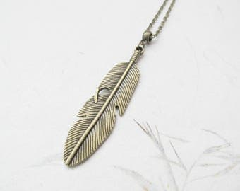 Feather necklace, feather jewelry, bronze necklace