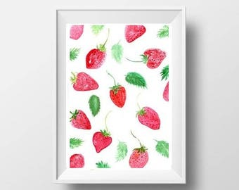 strawberry watercolor painting food decor kitchen print wall art kitchen picture nursery food art red fruit picture food poster decal