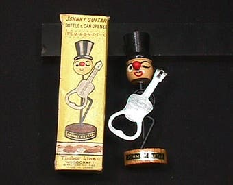 Vintage 1960's Top Hat Johnny Guitar Playing Bottle Opener in his Original Box
