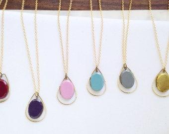 Teardrop Necklace-Mothers Day Gift- Mothers Necklace-Vintage Locket-Modern Locket-Bridesmaid gift-Modern Locket Necklace-Brass Locket