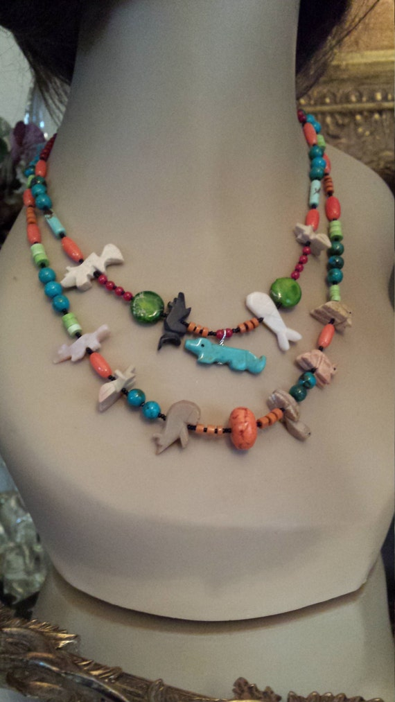 Native American fetish two strand necklace