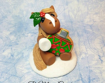 "Messy Mini's - Polymer Clay Miniature Horse ""Sam"" - Christmas Ornament - Small"
