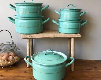 Vintage Turquoise Enamel pots Set Dutch Enamelwear RARE - 30's  Antique Shabby Chic European Kitchenware