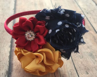 Navy, Mustard, Scarlet headband - Fall Wedding Headband - Fall Headband - Toddler Headband - Flower girls headband - Hard headband - Fall