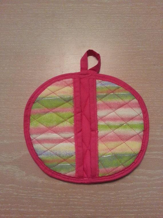 "Handmade "" Rainbow Stripe Print "" Potholder / Trivet"