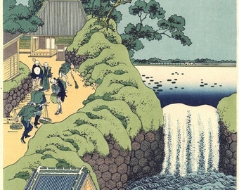 "Japanese Ukiyo-e Woodblock print, Katsushika Hokusai, ""The Falls at Aoigaoka in the Eastern Capital"""