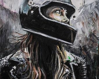 Ride (print), motorcycle, biker, bike, abstract, woman, helmet, hair, unique, modern