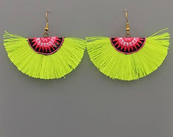 Neon Green Tassel Fan Earrings