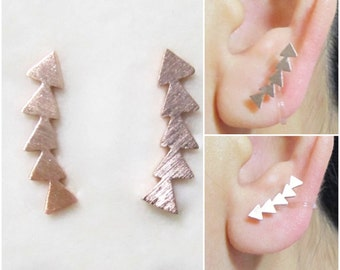 Rose Gold Clip on Stud Earrings 17H Non Pierced Ear Cuffs Ear Climbers Earrings Arrow Stud Clip on earrings Triangle Clip-ons, clipons