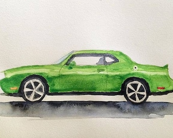 Dodge Challenger, American car, car painting, child art, car watercolor, car art, child artist, nursery room art, Dodge, Car watercolor