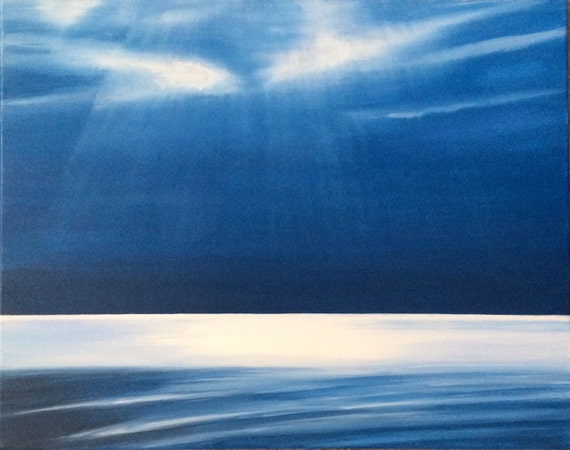 Sea painting, Puget Sound, Sky painting, sun rays, landscape painting