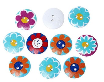 100PCs Wooden Buttons Mixed Color Flower Round Sun 2-hole Sewing Scrapbook