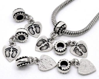 20 Footprint Heart Dangle Beads Fit Charm Bracelet